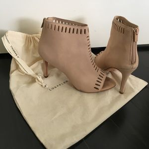 Beige ankle boots, 3 inch heels